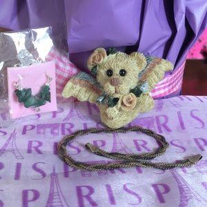 Angel teddy bear pin, silver bracelet & earrings